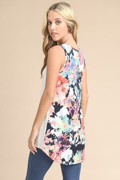 Sleeveless Floral Printed Back Tunic