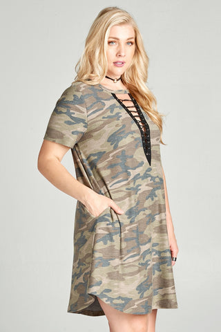 Lace Up Dusty Camo Shift Dress