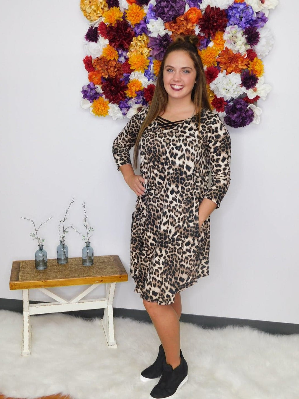 All The Leopard Printed 3/4 Sleeve Dress