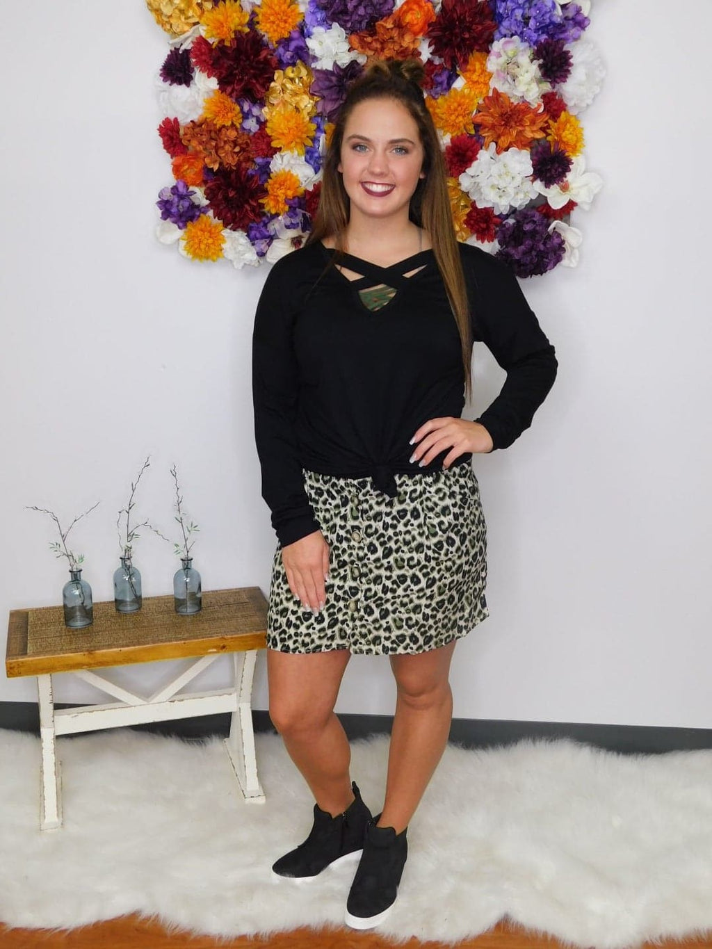 Kinda Wild High Waist Leopard Button Front Mini Skirt