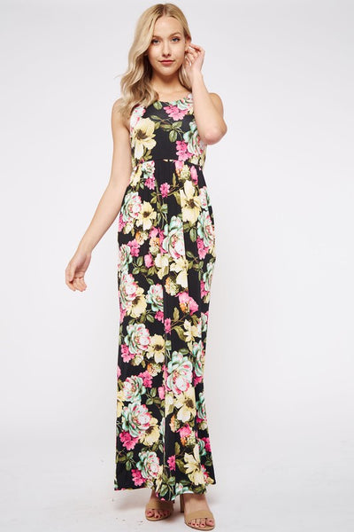Floral Print Racer Back Maxi Dress with Pockets