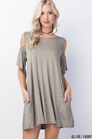 Thin Pin Stripe Cold Shoulder Dress with Pockets