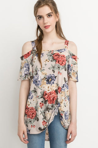 Open Shoulder Floral Print Knot Front Top