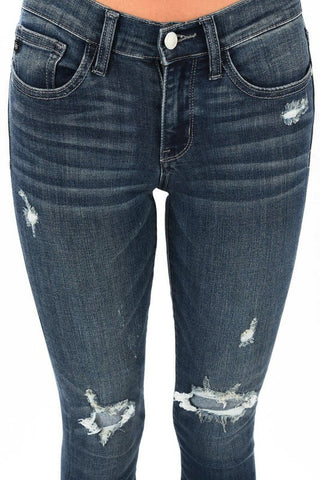 Dark Skinny Jeans With Destructed Detail