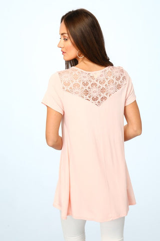 Short Sleeve Top With Cutout Lace Detail