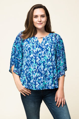 Multiprint Poncho Shirt With Gold Accent Detail