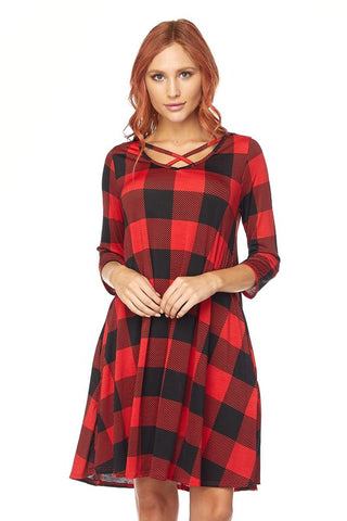 Buffalo Plaid Criss Cross Neckline Dress with Pockets
