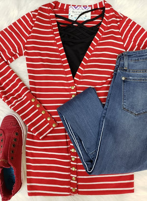 Gotta' Have It Snap Front Cardigan - Red/White Stripe
