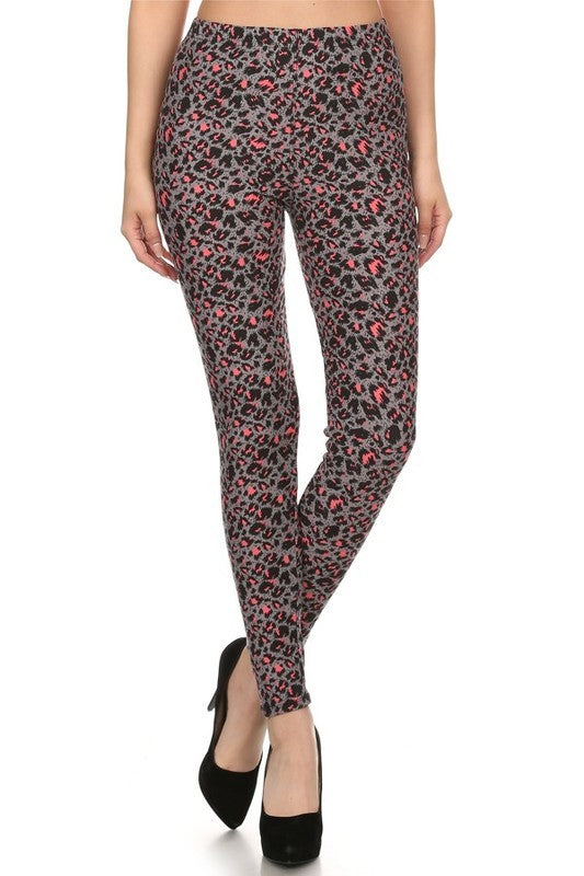 Colored Leopard Print Soft Leggings