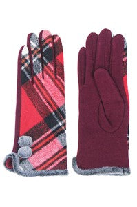 CC Plaid Pattern with Smart Touch Tips Gloves