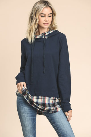 Solid Hoodie with Plaid Contrast Detail
