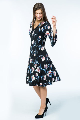 Bell Sleeve V-Neck Floral Dress