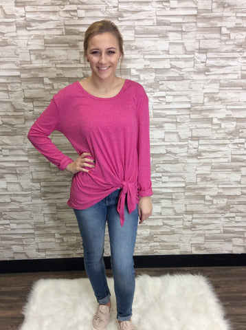 Pink Long Sleeve Scoop Neck Top with Front Waist Tie