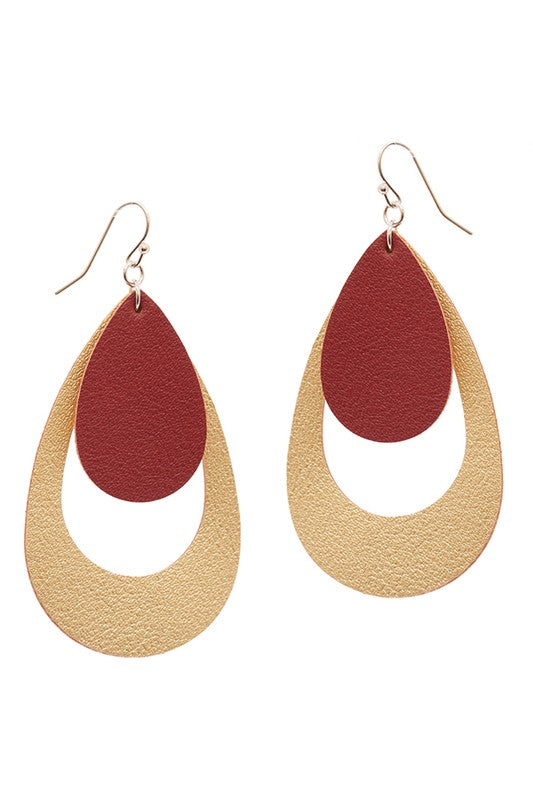 Two Tier Tear Drop Shaped Leather Earrings