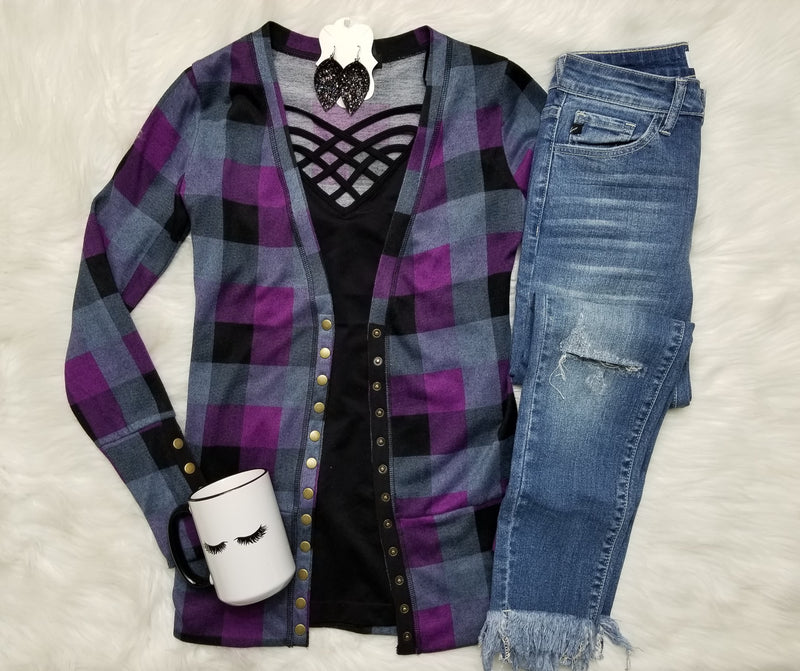 Gotta Have It Snap Front Cardigan - Plum Check