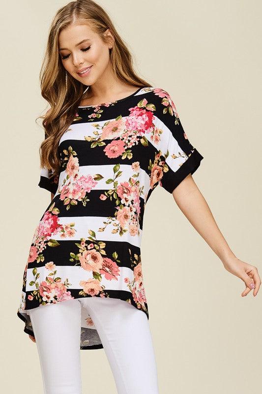 Short Sleeve Stripe Top With Floral Detail