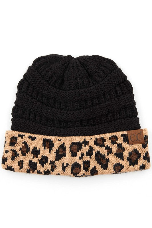 CC Solid Beanie with Leopard Trimmed Cuff