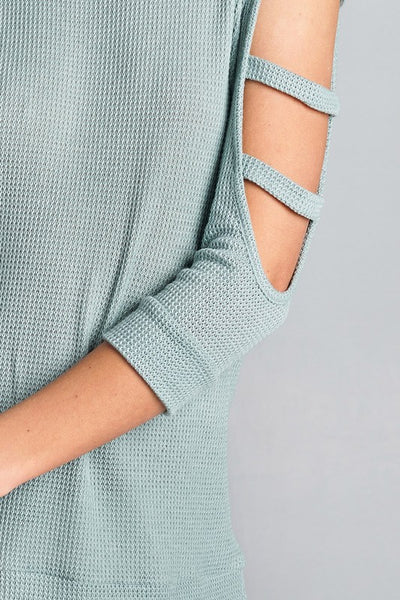 Solid Lightweight Waffle Knit Cold Shoulder Top