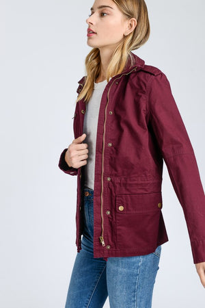 Dreaming Of Fall Zip Up Utility Jacket
