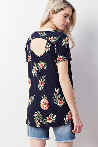 V-Neck Floral Print Cutout Back Top