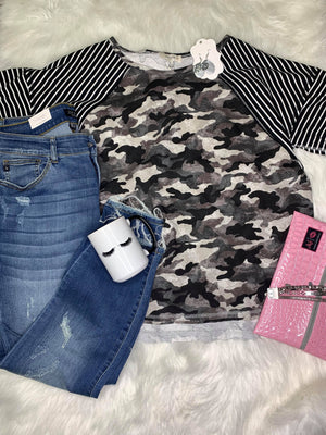 Mix It Up Camo & Striped Mixed Print Top