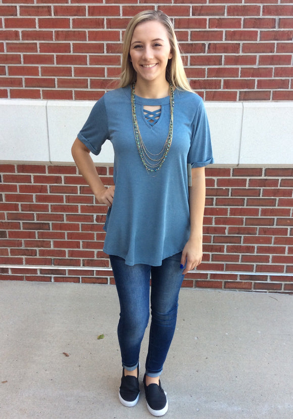 Good as Blue Cutout Neckline Shirt