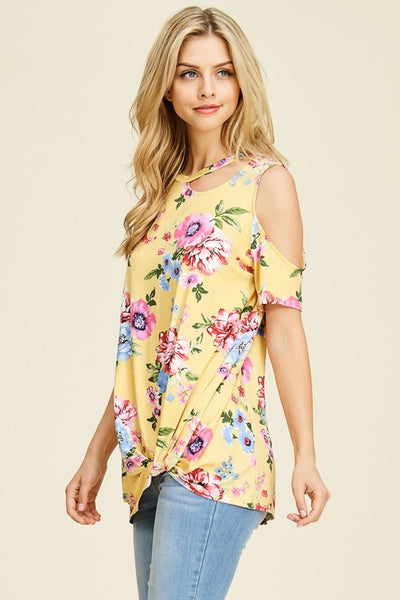 Gathered Front Floral Print Cold Shoulder Top with Cutout Neckline Detail