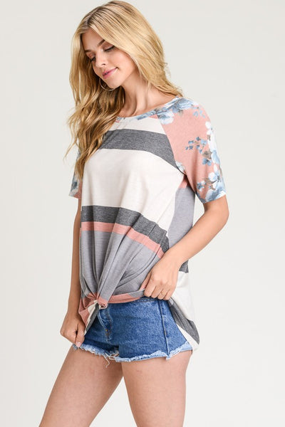 Striped Floral Print Sleeve Twist Front Top