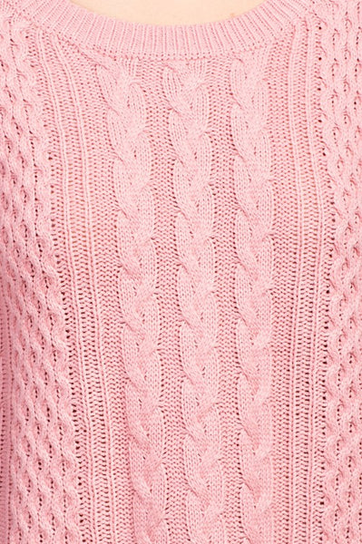 Round Neck Lace Bottom Pullover Sweater