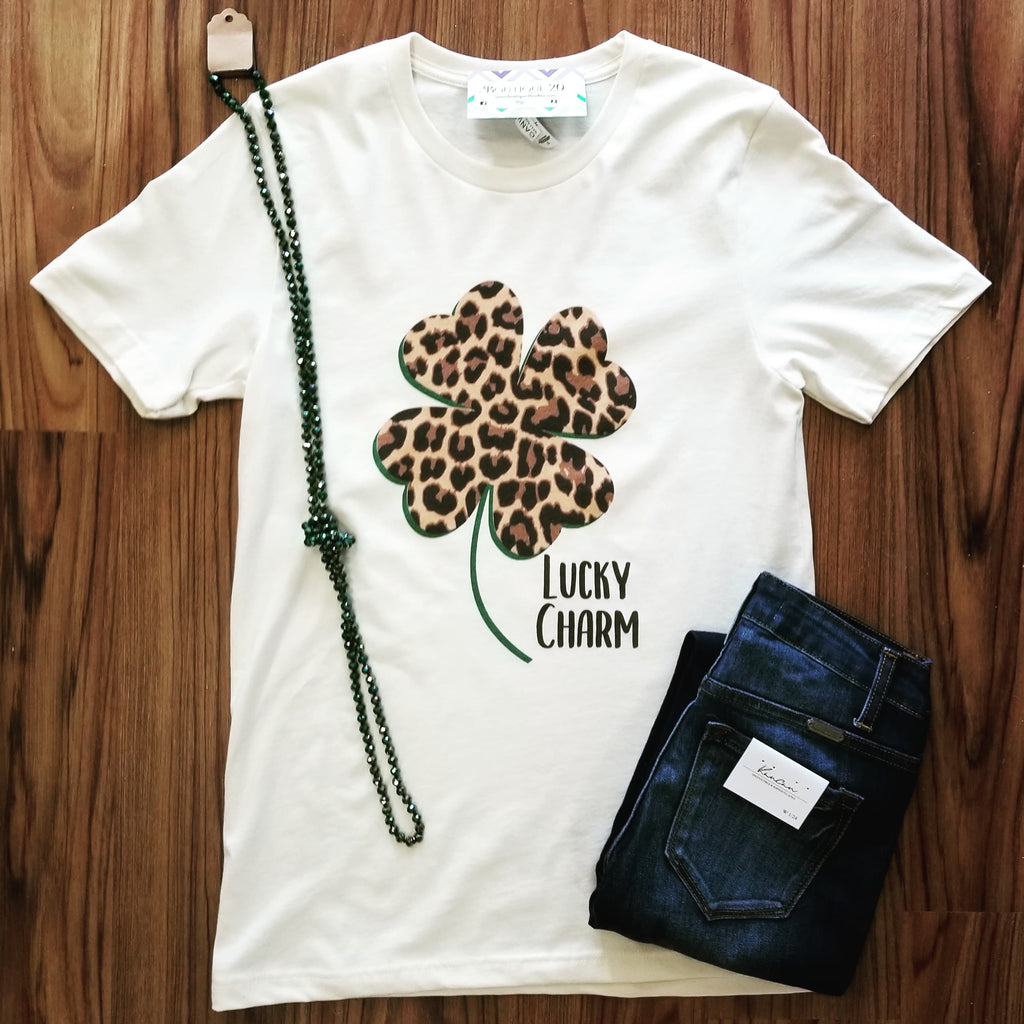 Lucky Charm Leopard Print Graphic Tee - Final Sale