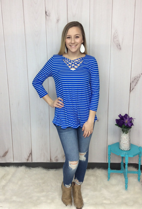 Rule The World Criss-Cross Striped Top