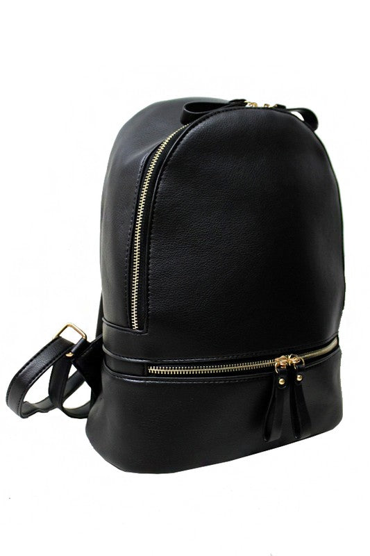 Let's Get Going Black Backpack with Gold Accents