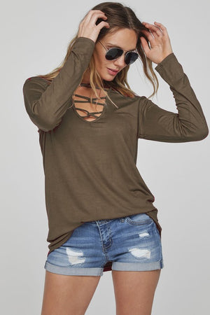 Rock Solid Caged V-Neck Top
