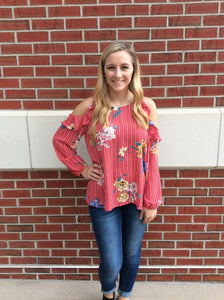 Fall Into Floral and Stripes Top