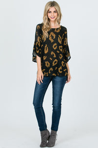 Against The Wind Printed 3/4 Sleeve Top