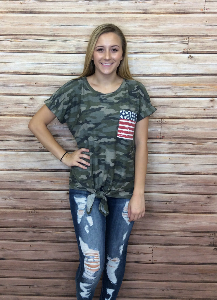 Stars & Stripes Pocket Camo Tie Front Top