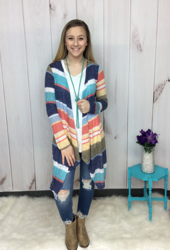 Believe In Miracles Striped Knit Cardigan