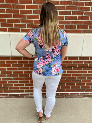 V-Neck Floral Print Short Sleeve Top