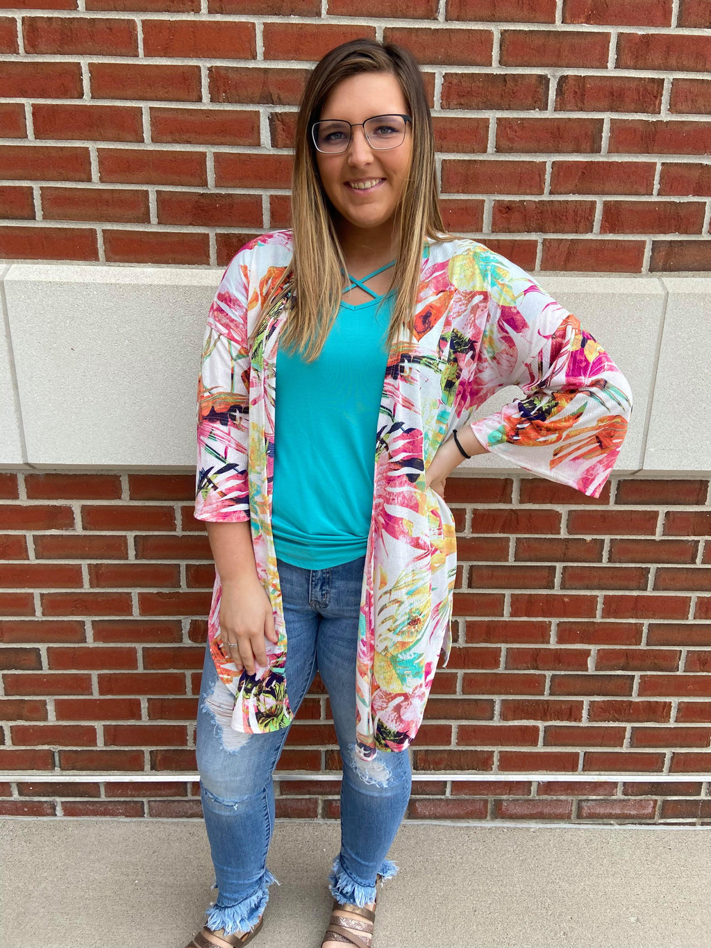 Tropical Side Slit Kimono Cardigan- Final Sale