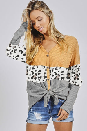 She's A Mystery Waffle Knit Color Block Top With Tie Front Detail