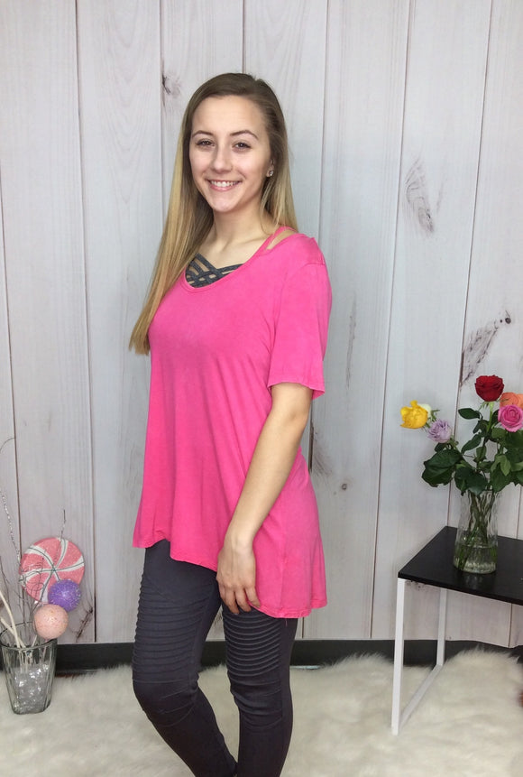 Pink Diamond Washed Open Shoulder Top