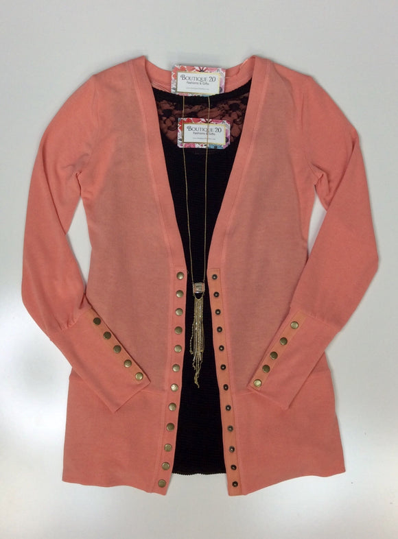Gotta Have It Snap Detail Cardigan - Sugar Coral