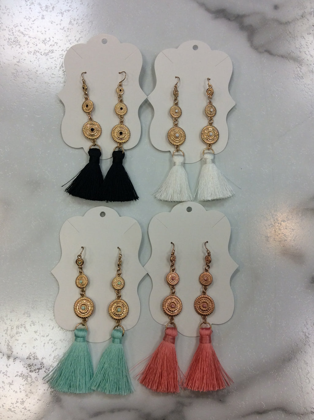 3 Round Metal Dangling with Tassel Bohemian Earrings