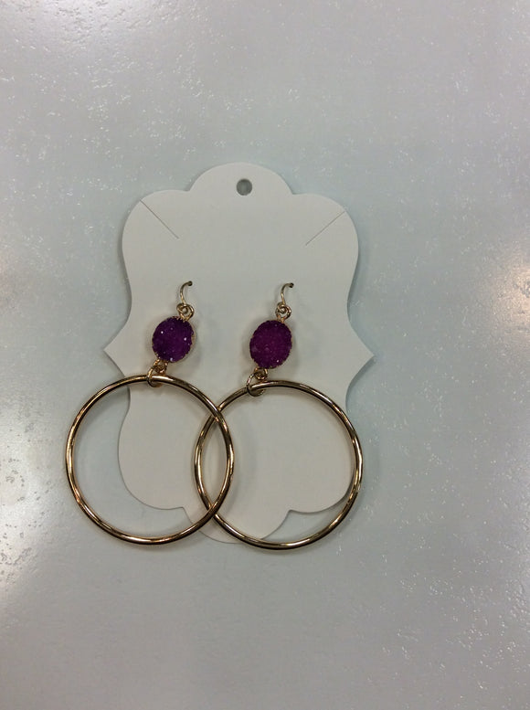 Druzy Stone with Metal Hoop Earrings
