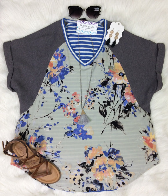 Lazy Days of Vacay Mixed Print Top
