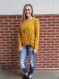 Must Have Mustard Long Sleeve Knot Front Top