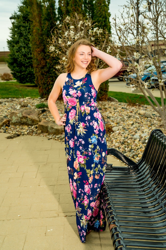 Floral Print Maxi Dress with Hidden Pockets