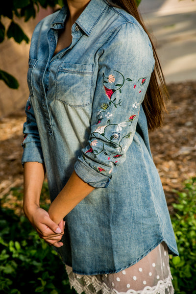Denim Shirt Dress with Floral Embroidered Sleeves