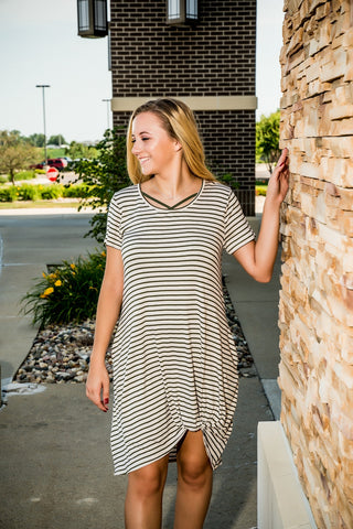Short Sleeve Striped Knotted T-Shirt Dress