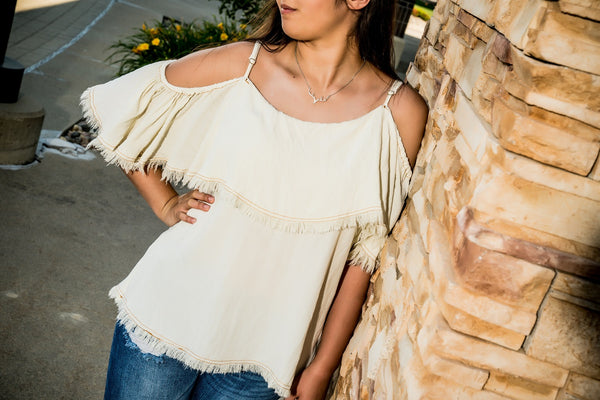 Cold Shoulder Top With Ruffle Sleeves